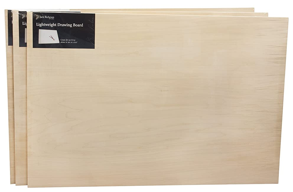 Jack Richeson 400424-03 Lightweight Drawing Board with Wood Edge (3 Pack), 24