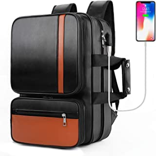 16.'' Laptop Backpack Travel Leather Briefcase Anti Theft Computer Tablet Backpack College School Bag Business Casual Travel Messenger Bag Daypack with USB Port for Men Students
