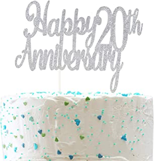 Happy 20th Anniversary Cake Topper,Cheers to 20 Years Wedding Retirement Anniversary Party Decorations (Double Sided Sliver Glitter )