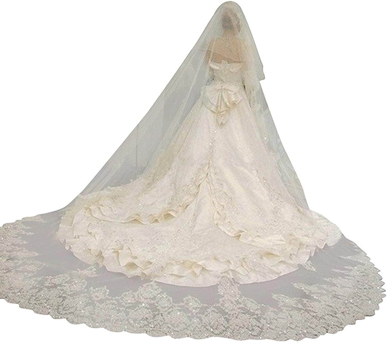 Cibelle Women's 2T Floral Appliques Lace Sequin Wedding Veils 3 Merters Long Birlda Veil with Comb