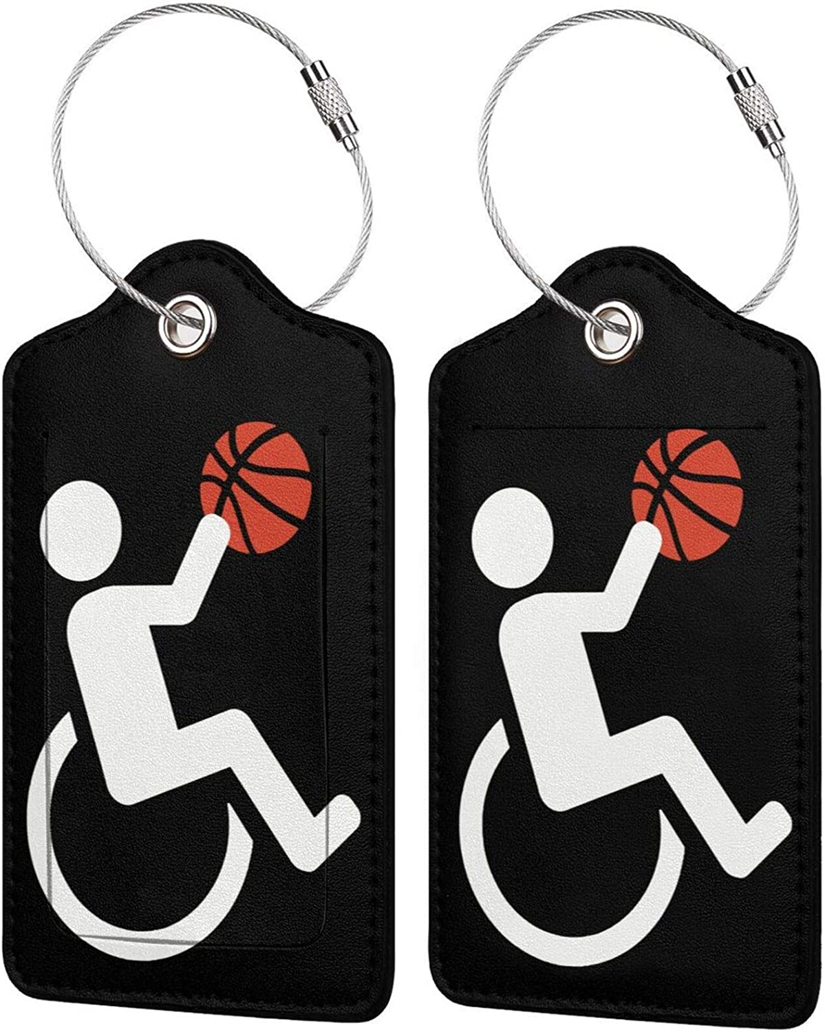 Classic Wheelchair Basketball PU unisex Leather Baggage tag Rectangle I Luggage