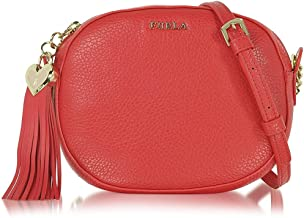 FURLA Cuore L Hammered Leather Crossbody Bag Rosso