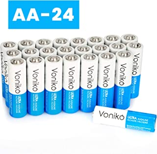 VONIKO Ultra AA Alkaline Batteries 24 Pack – AA Batteries – 10 Year Shelf Life & 6-9 Times The Power As Carbon Batteries |AA Battery – Double A Batteries