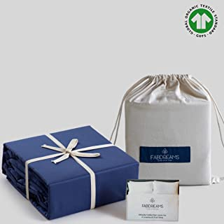 100% Organic Cotton Twin XL Dark Blue Sheet Set- Percale Weave-3 Piece-300 Thread Count-GOTS Certified-Breathable Crisp Cool-Luxury Finish- Fits Upto 17