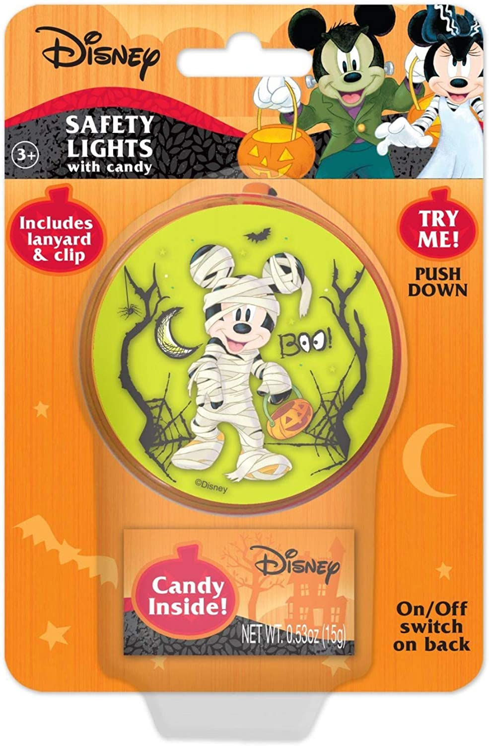 3 Inch Minnie and Mickey Mouse Safety Light with Lanyard and Clip for Halloween Trick or Treating or Night Events with Candy