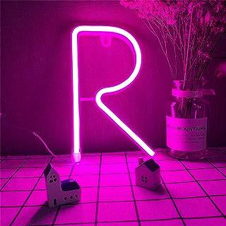 Lettre de lettre LED LUMIÈRE LED Lettre R Signes Pink LED Lettre Lampes de nuit Lumières 26 Alphabet Néon Lumières USB/Bat...