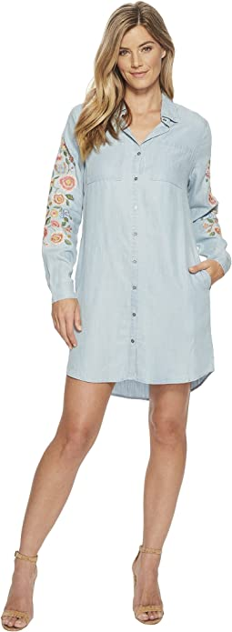 Flower Embroidered Button Down Shirtdress