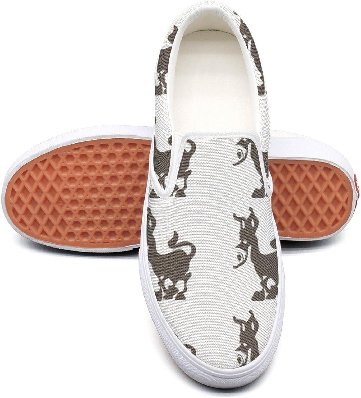 RegiDreae Canvas Slip On Sneakers for Women Cute Cartoon Doneky Fashion Sneaker
