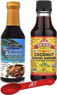 Liquid Aminos Saver Package: Bragg Organic Coconut Liquid Aminos 10 oz + Coconut Secret Coconut Liquid Aminos, 8 Oz