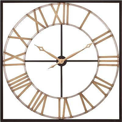 Amazon Com Imax 27635 Jasper Wall Clock 48 In Iron Bronze Analogue Clock With Roman Numerals Distressed Vintage Theme Home Decor Accessories Home Kitchen