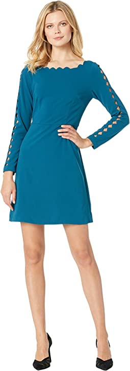Scalloped Knit Crepe A-Line Dress