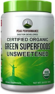 Peak Performance Organic Greens Unsweetened Superfood Powder. Unflavored Green Juice Super Food with 25+ All Natural Ingredients for Max Energy and Detox. Spirulina, Spinach, Kale, Turmeric Probiotics
