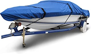"""Budge B-1630-X4 Ripstop Center Console V-Hull Boat Cover Blue 16'-18' Long (Beam Width Up to 106"""") Waterproof, Heavy Duty,..."""