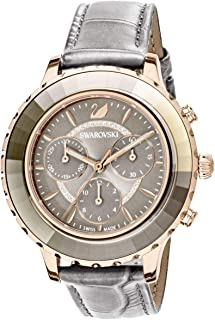 SWAROVSKI Crystal Authentic Octea Lux Chrono Watch, Leather Strap, Gray, Rose Gold Tone - High Class Stone Studded Swiss Made Timepiece Jewelry and Everyday Accessory for Women