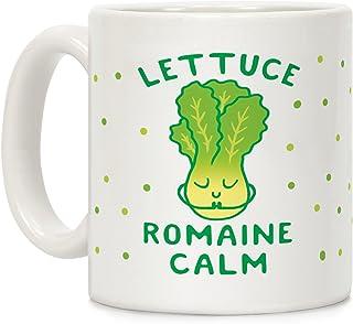 LookHUMAN Lettuce Romaine Calm White 11 Ounce Ceramic Coffee Mug