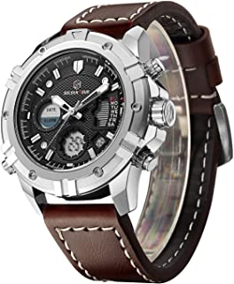 Mens Sport Watch Digital Analog Quartz Waterproof Multifunctional Military Leather Wrist Watches
