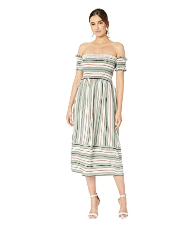 American Rose Zoey Off the Shoulder Striped Dress (Light Olive) Women