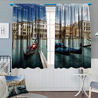 Chaneyhouse Italian Blackout Window Curtain Gondolas in The Venetian Adriatic Lagoon Historical Venezia Photo Customized Curtains 55