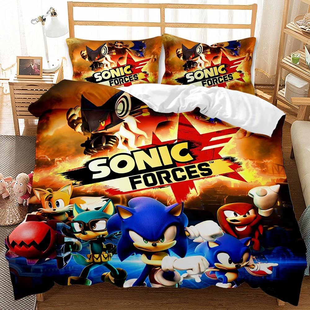 Save money Haonsy Kids Sonic The New product Hedgehog Bedding for King 3 Sets Size Boys