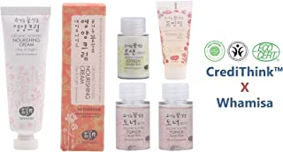Whamisa Organic Flowers Nourishing Cream 50ml with Super Deep Moist Miniature Kit (1.7 Ounces)