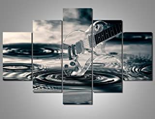 Black and White Wall Art 5 Piece Musical Instrument Paintings for Living Room Rock Roll Artwork Acoustic Guitar Pictures Modern House Decor Wooden Framed Ready to Hang Posters and Prints(60''Wx40''H)