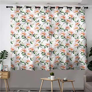 Fbdace Dusty Rose Grommet Curtains Briar Flowers Watercolor Blackout Draperies for Bedroom W 72