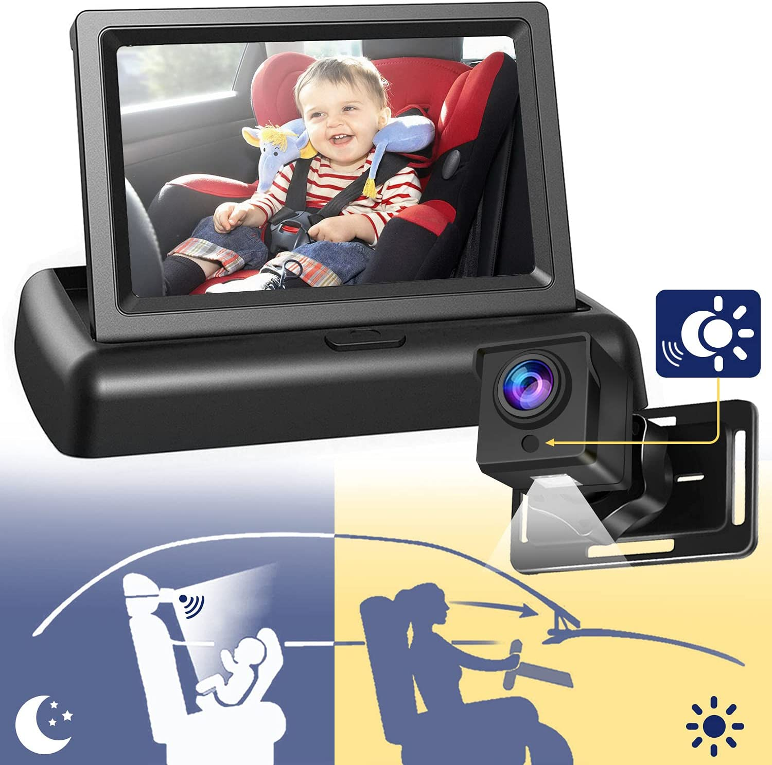 New Upgraded Baby Car Mirror Car Camera for Baby Rear Facing, Car Seat Mirrors Car Baby Monitor with 4.3'' HD Colorful Night Vision, Wide View, Suitable for all Family with Babies