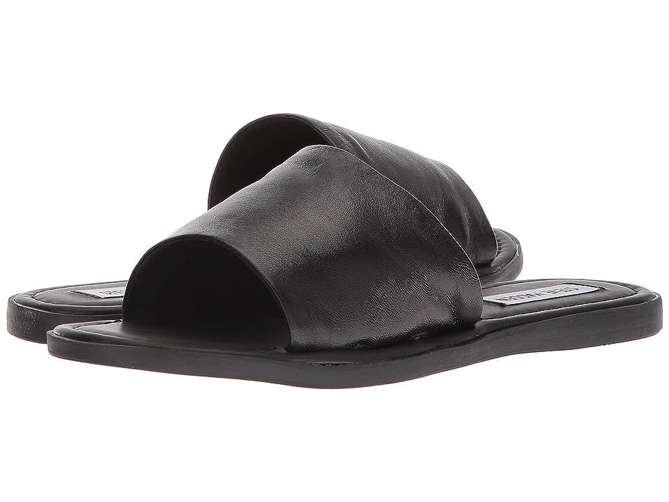Steve Madden Camilla Flat Sandal (Black Leather) Women