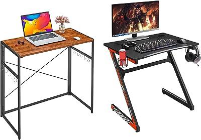 "Mr IRONSTONE 31.5"" Gaming Desk PC Computer Desk Home Office Student Table & 31.5"" Folding Computer Desk"