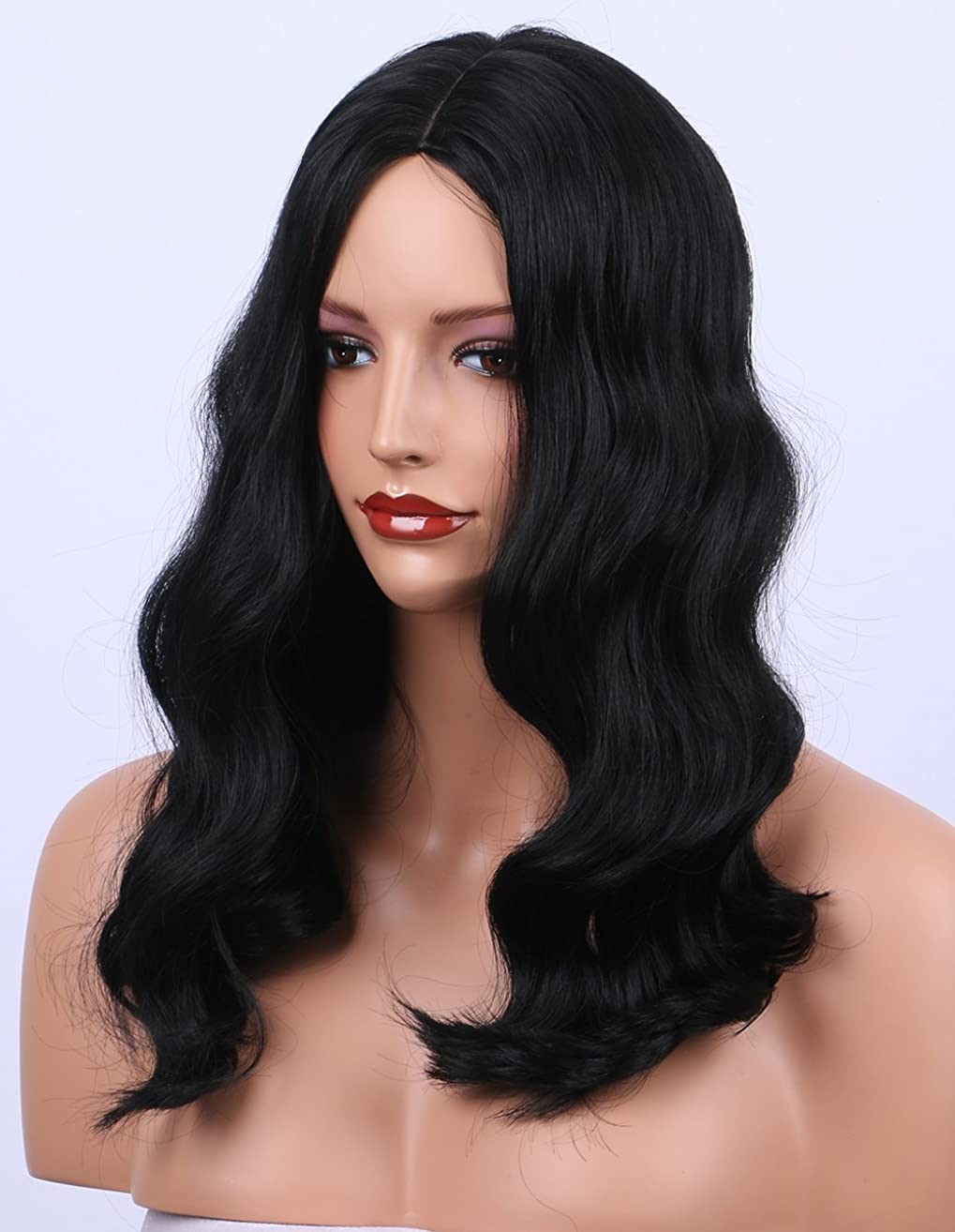 K'ryssma Synthetic Wigs Shoulder Length Wavy #1B Natural Black Wig for Women Middle Part