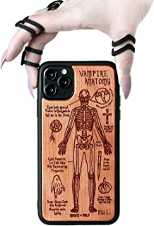 Rogue + Wolf Vampire Anatomy Cherry Wood Phone Case with Laser Engraving Compatible with iPhone Xs Max Cases Wiccan Goth