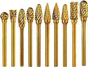 Double Cut Titanium Carbide Rotary Burr Set - Rocaris 10 Pieces 1/8