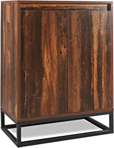 WLIVE Floor Storage Cabinet with Double Door, Adjustable Shelf and Stable Steel Frame, Lowell Standing Cabinet, Multifunctional in Living Room, Hallway, Rustic O9 Oak