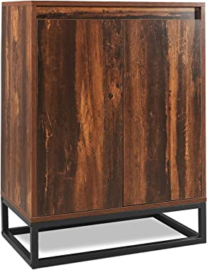 WLIVE Floor Storage Cabinet with Double Door, Adjustable Shelf and Stable Steel Frame, Lowell Standing Cabinet, Multifunctional in Living Room, Hallway, Rustic O9 Oak