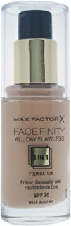 Max Factor Facefinity 3 In 1 Primer, Concealer And Foundation Spf20 65 Rose Beige 30ml