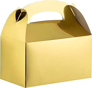 Party Treat Boxes - 24-Pack Metallic Gold Foil Gable Gift Boxes for Party Favors, Small Goodie Candy Boxes for Wedding, Birthday, Gold, 6.2 x 3.6 x 3.4 Inches