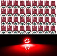 Partsam Red T10 194 168 6-SMD 3020 LED Bulbs for Car Truck Instrument Panel Dashboard Lights Interior Dome Map Lamps 12V (Pack of 100pcs)