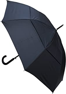 COLLAR AND CUFFS LONDON - 60MPH Windproof EXTRA STRONG - StormDefender City Reinforced Fiberglass Frame Umbrella - Vented Double Canopy Regulates Gusts - Auto Open - Leather Style Hook Handle - Black