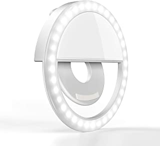 Amuoc Clip on Selfie Ring Light [Rechargeable Battery] with 36 LED for Smart Phone Camera Round Shape - (White)