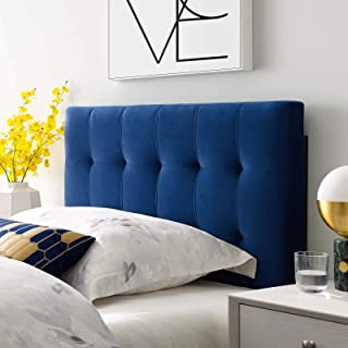 Modway Lily Biscuit Tufted Twin Performance Velvet Headboard, Navy