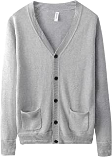Yeokou Mens Casual V-Neck Button Up Solid Knitted Cardigan Sweaters with Pocket
