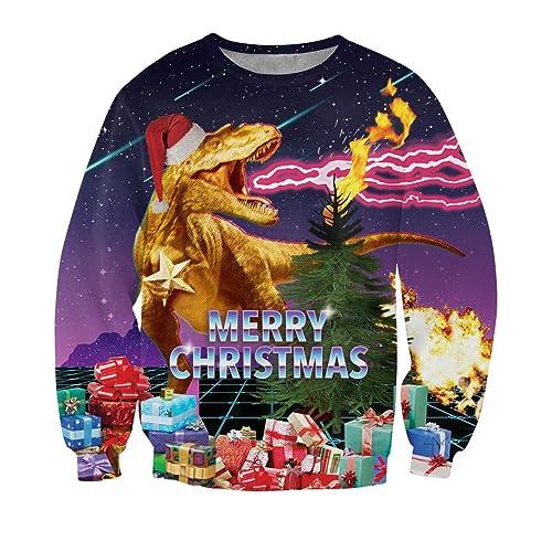 ec17c10ad uideazone Unisex Ugly Christmas Pullover Sweatshirts 3D Print Novelty Xmas  Elf Long Sleeve Tshirt …