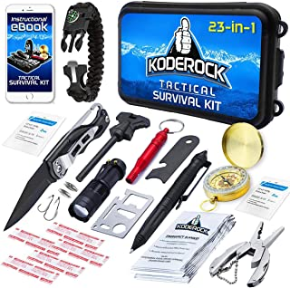 Survival Kit 23 in 1 - Outdoor Military Gear Kits for Camping, Hiking and Adventure - Birthday Gift for Men, Husband - Flashlight, Tactical Pen, Emergency First Aid Blanket, Paracord Bracelet