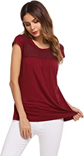 Womens Casual Loose Round Neck Cap Sleeve Top Chiffon Stitching Pleated Pullover Blouse