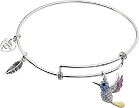 Sterling Silver Hummingbird Dangle Charm Adjustable Wire Bangle Bracelet Made w/Swarovski Crystal