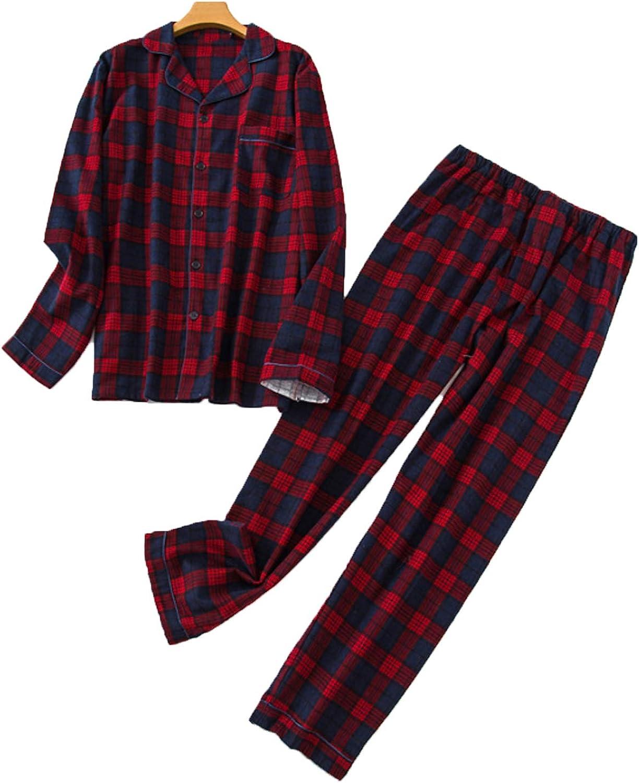 Men'S Pajama Set Long Sleeve Sleepwear For Men Red M