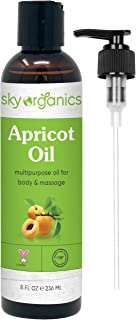 Apricot Kernel Oil by Sky Organics (8oz) 100% Pure, Natural & Cold-Pressed Apricot Oil - Ideal for Massage, Cooking and Aromatherapy- Rich in Vitamin A