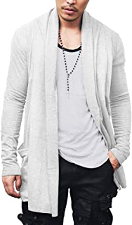 COOFANDY Men's Ruffle Shawl Collar Cardigan Lightweight Cotton Blend Long Length Drape Cape Overcoat