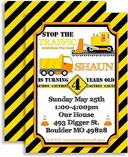 Construction Digger, Dump Truck Custom & Personalized Birthday Party Invitations for Boys. Twenty 5 x 7 Cards Including 20 White Envelopes bt AmandaCreation