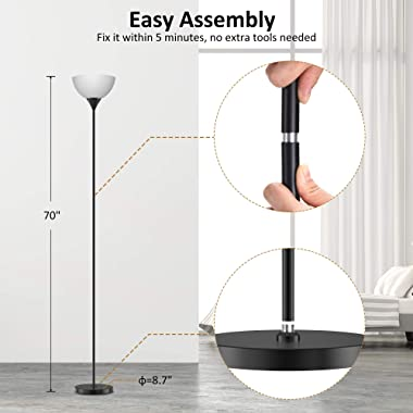 Floor Lamp, Remote Control with 4 Color Temperatures, Torchiere Floor lamp for Bedroom, Standing Lamps for Living Room, Bulb